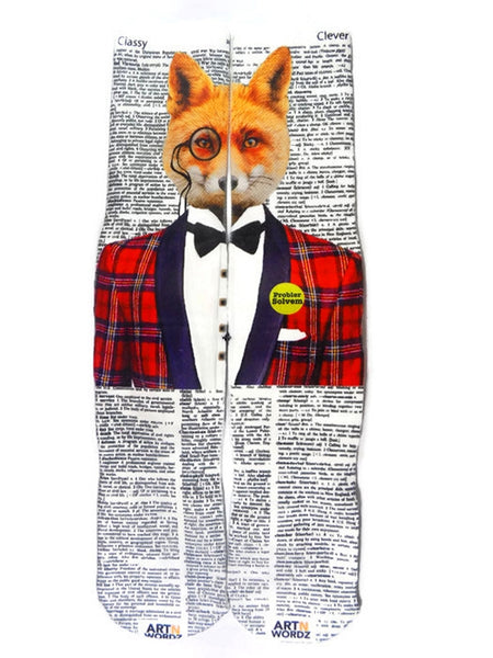 Artnwordz Apparel Clever Fox Classy-Clever Dictionary Page Print Pop Art Unisex Socks