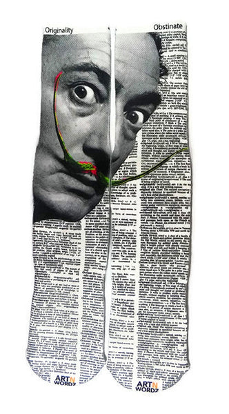Art N Wordz Apparel Salvador Dali Originality-Obstinate Dictionary Page Print Pop Art Unisex Socks