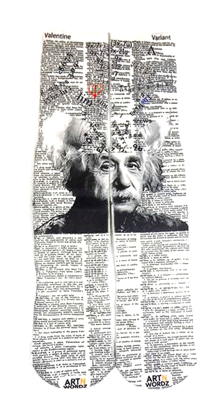 Art N Wordz Apparel Mathematician Albert Einstein Love Formula Valentine-Variant Dictionary Page Print Pop Art Unisex Socks