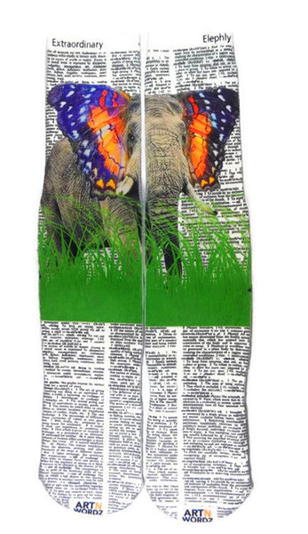 Artnwordz Apparel Elephant Butterfly Extraordinary-Elephly Dictionary Page Print Pop Art Unisex Socks