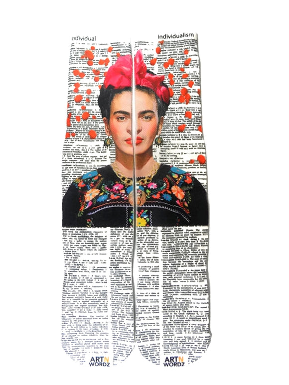 Artnwordz  Apparel Frida Kahlo Roses Individual-Individualism Dictionary Page Print Pop Art Unisex Socks