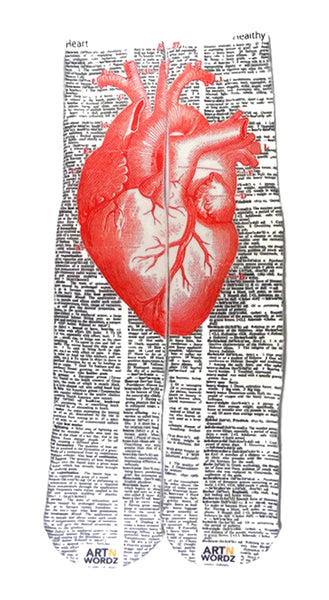 Art N Wordz Apparel Red Heart Anatomical Heart-Healthy  Dictionary Page Print Pop Art Unisex Socks