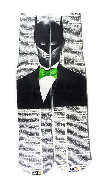 Art N Wordz Apparel I Am Lincoln Batman Alias-Alliance Dictionary Page Print Pop Art Unisex Socks