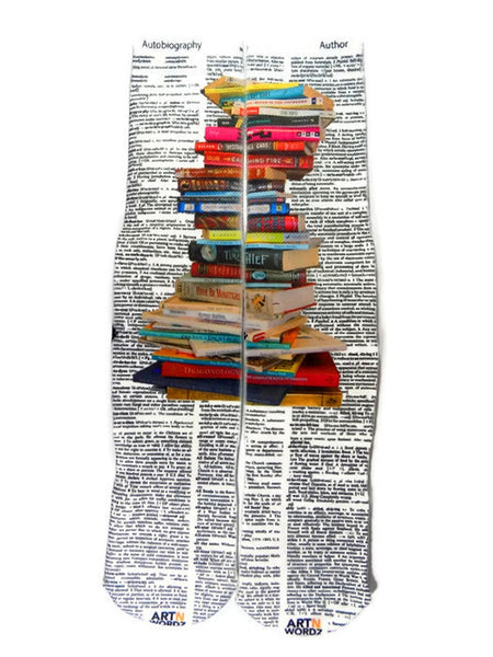 Artnwordz Apparel Stacked Books Autobiography-Author Dictionary Page Print Pop Art Unisex Socks