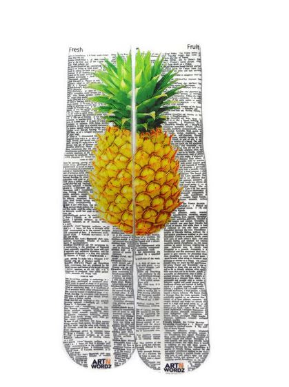 Art N Wordz Apparel Yellow Pineapple Fresh-Fruit Dictionary Page Print Pop Art Unisex Socks