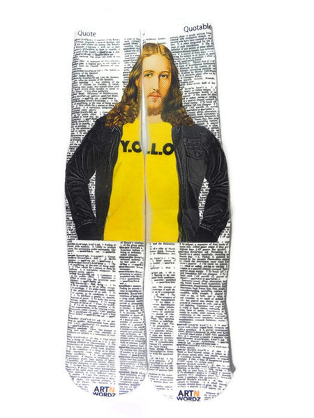 Artnwordz Apparel Jesus YOLO Quote-Quotable Dictionary Page Print Pop Art Unisex Socks