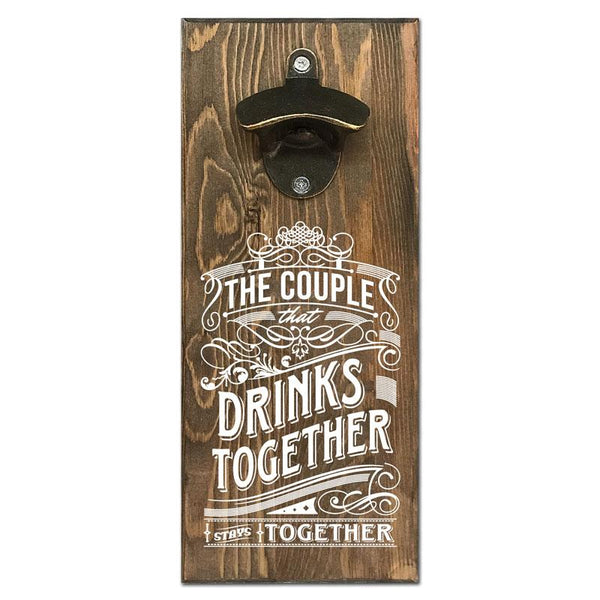 Beer Cap Traps A Couple That Drinks Together Stays Together Wall Mount Magnetic Bottle Opener Beer Soda Pop Cap Caps Organizer