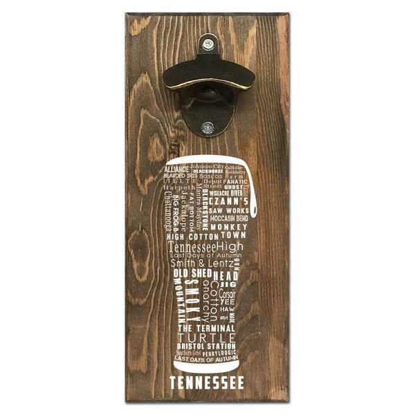 Beer Cap Traps Tennessee Typography Wall Mount Magnetic Bottle Opener Beer Soda Pop Cap Caps Organizer