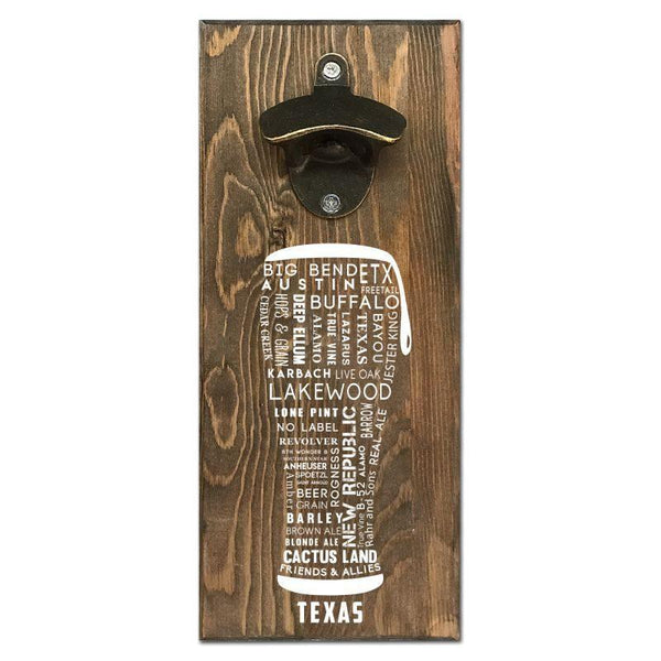 Beer Cap Traps Texas Typography Wall Mount Magnetic Bottle Opener Beer Soda Pop Cap Caps Organizer