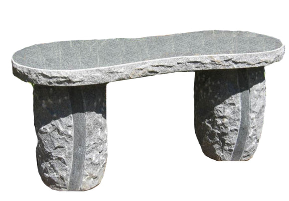 Stone Age Creations BE-CG-HG Polished Charcoal Granite Hourglass Stone Boulder Bench