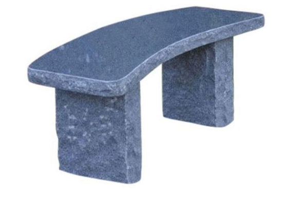 Stone Age Creations BE-GR-4C Curved Charcoal Granite Stone Boulder Bench