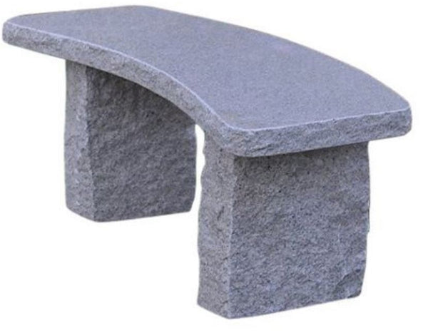 Stone Age Creations BE-GR-5C Curved Gold Granite Stone Boulder Bench