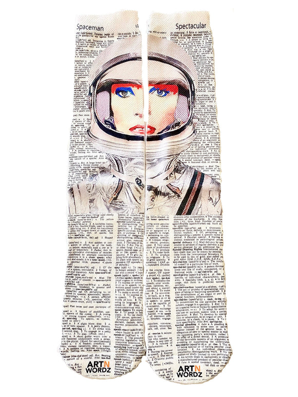 Artnwordz Apparel David Bowie Space Oddity Spaceman-Spectacular Dictionary Page Print Pop Art Unisex Socks