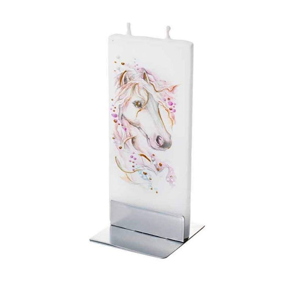 Flatyz Handmade Lithuanian Twin Wick Unscented Thin Flat Candle- Horse White and Pink