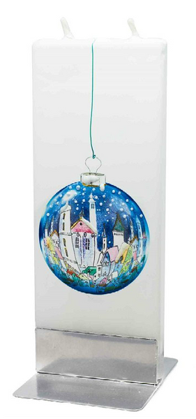 Flatyz Handmade Twin Wick Unscented Thin Flat Candle - Blue Christmas Ball with Town