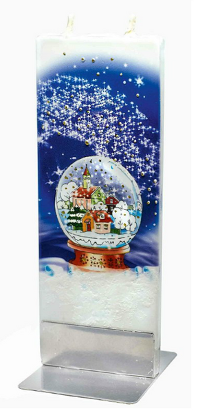 Flatyz Handmade Twin Wick Unscented Thin Flat Candle - Snow Globe