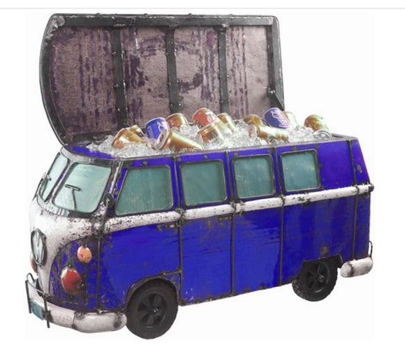 Think Outside Dark Blue Kombi Handmade Scrap Metal Fully Functional Beverage Cooler