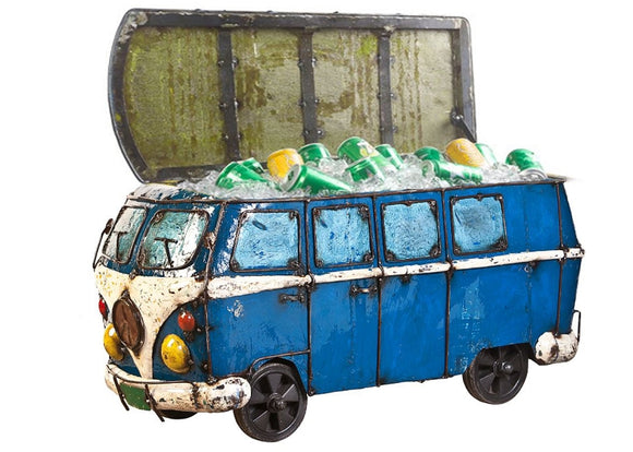 Think Outside Light Blue Kombi Handmade Scrap Metal Fully Functional Beverage Cooler