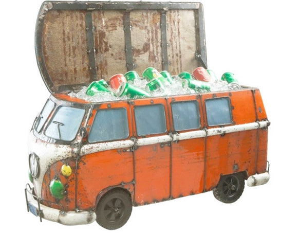Think Outside Dark Orange Kombi Handmade Metal Van Fully Functional Beverage Cooler