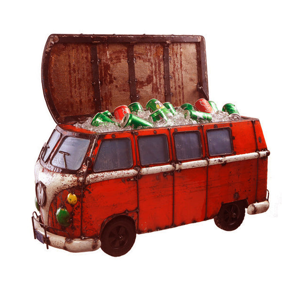 Think Outside Red Kombi Handmade Metal Van Fully Functional Beverage Cooler