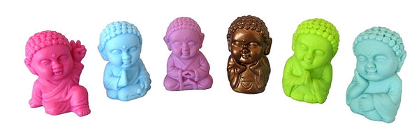 Pocket Buddha Figurine Toy Faith Peace Happiness Wisdom Love Harmony, set of 6