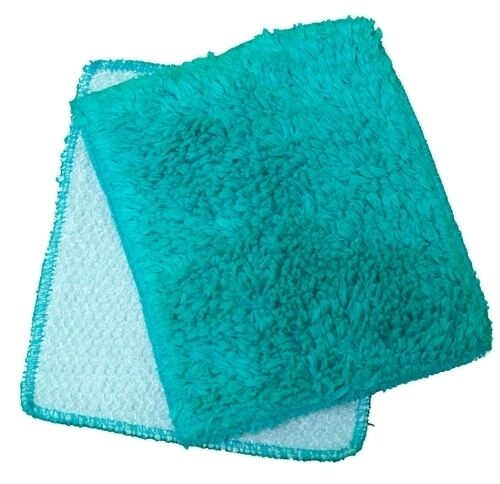 "Janey Lynn Designs Turquoise Shrubbies 5"" x 6"" Cotton & Nylon Washcloth 2 Pack"