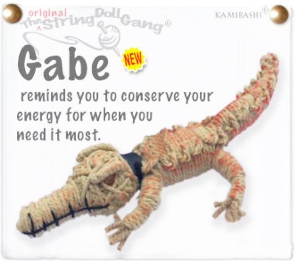 Kamibashi Gabe The Gator Tan The Original String Doll Ganga Keychain Toy and Clip