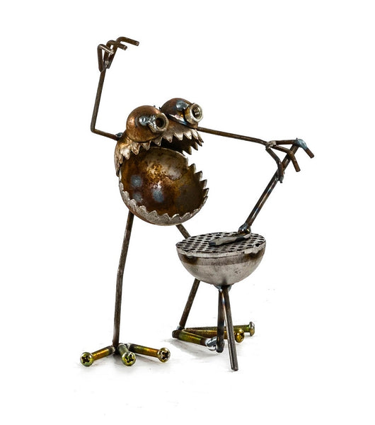 Sugarpost Mini Gnome Be Gone BBQ Griller Outdoor Garden Welded Metal Art Sculptures Item #1086