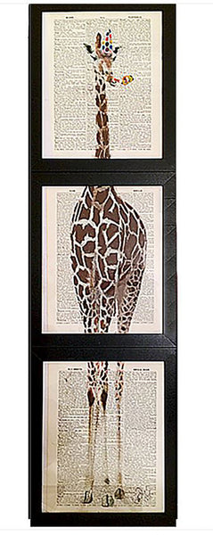 "Art N Wordz Giraffe ""Party Animal"" 3 Piece Triplicate Original Dictionary Sheet Pop Art Wall or Desk Art Print Poster"