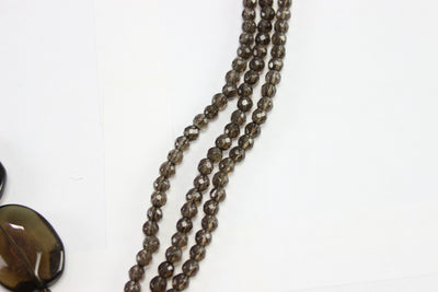Vintage Heidi Daus Ladies Smoky Bead Clear Swarovski Crystal Necklace 18''