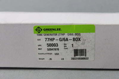 GREENLEE 77HP-G/6A Tone Generator NEW In Box