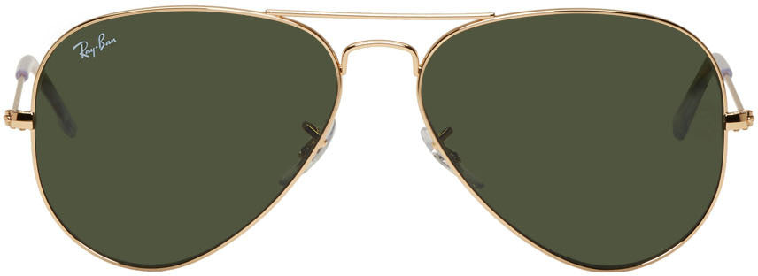 Ray Ban RB3025 Aviator Golden Green Gradient Lens Sunglasses