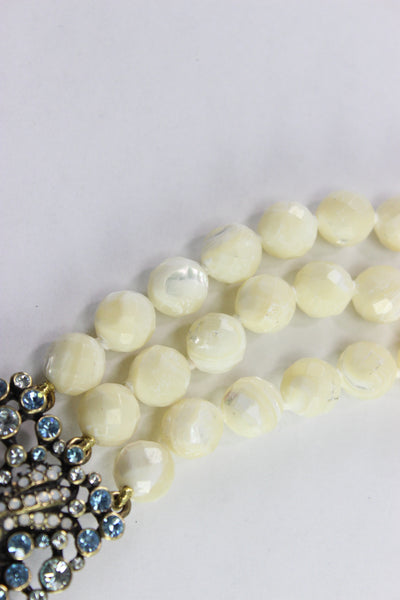 "Heidi Daus ""The Reel McKoi"" Swarovski White Bead Crystal Triple Row Necklace 21"""
