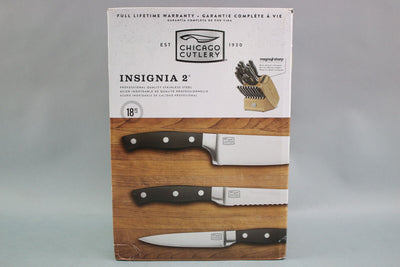 NEW Chicago Cultery Insignia 2 18PC Block Stainless Steel Knife Set NIB