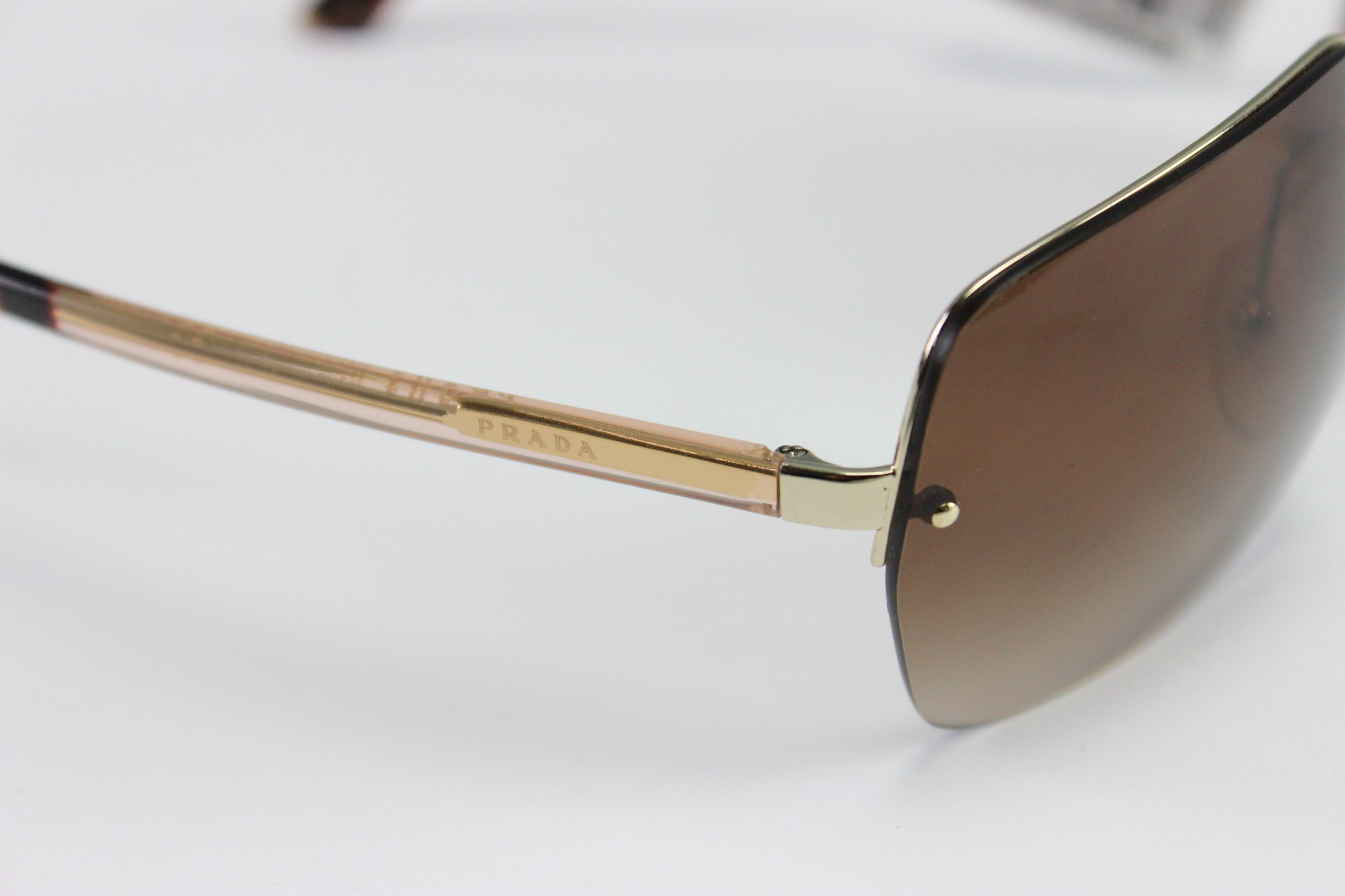 NWT $320 Prada 0PR 63 VS ZVN6S1 Light Gold Designer Sunglasses