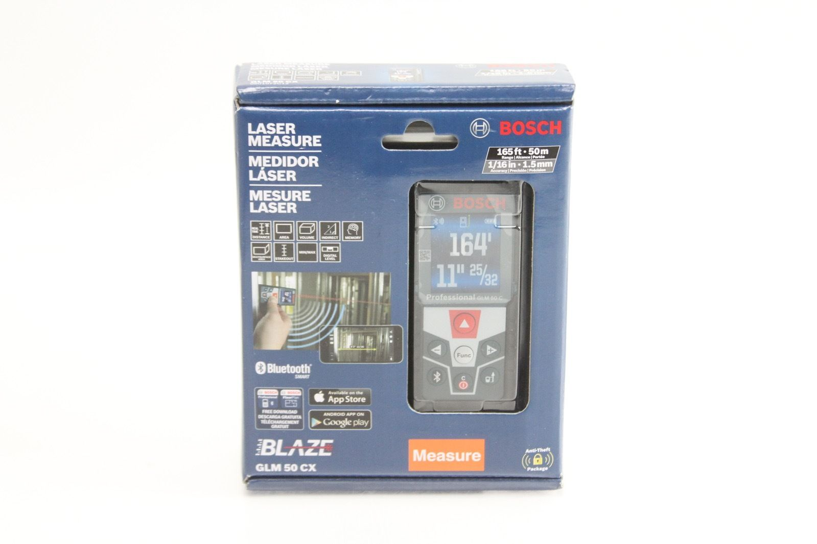 Bosch 165 ft. Laser Measure with Bluetooth and Full-Color Display GLM 50 CX