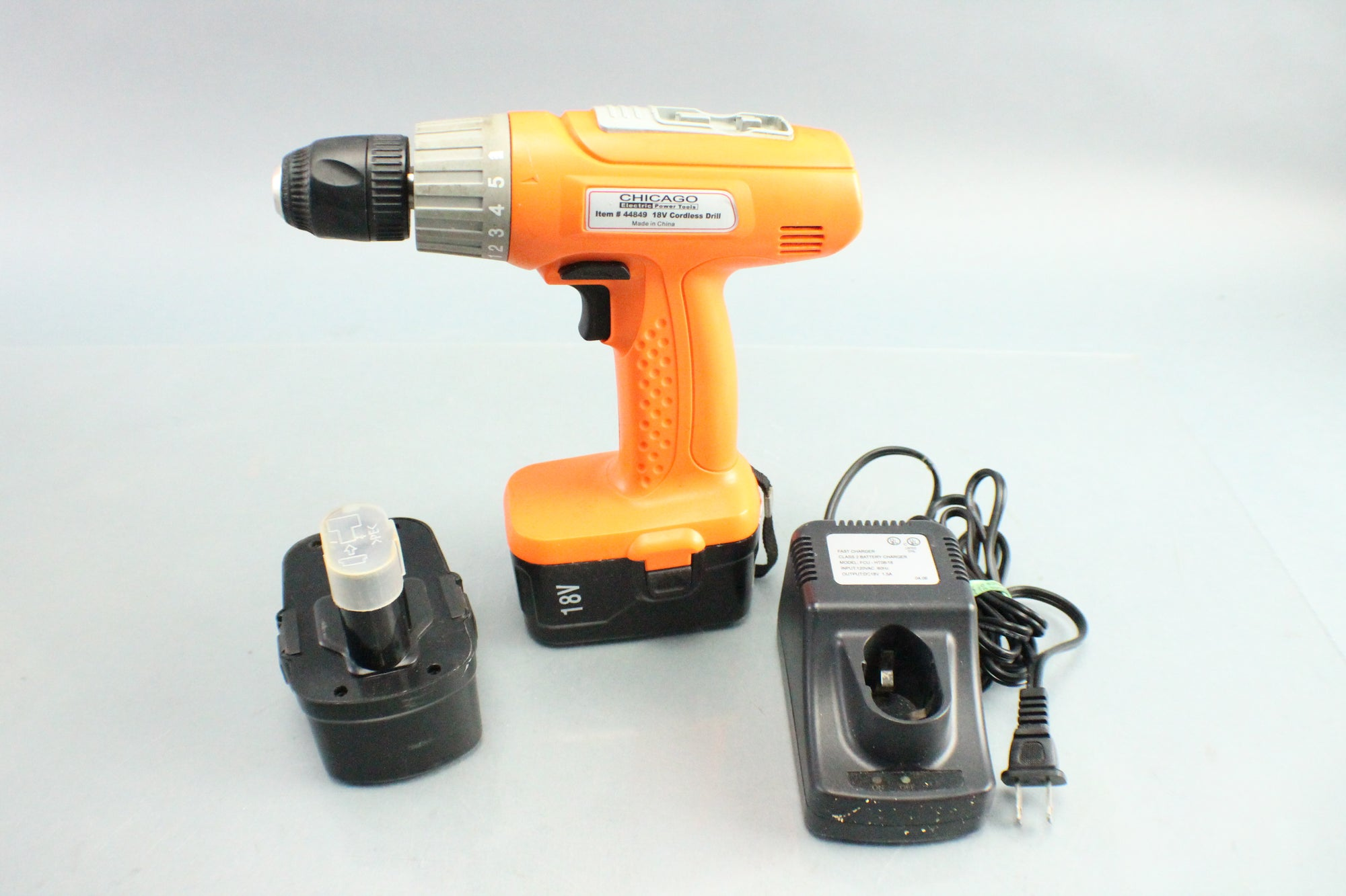 "Chicago #44849 3/8"" 18V Cordless Drill W/ Bundle Battery Charger Hard Case"