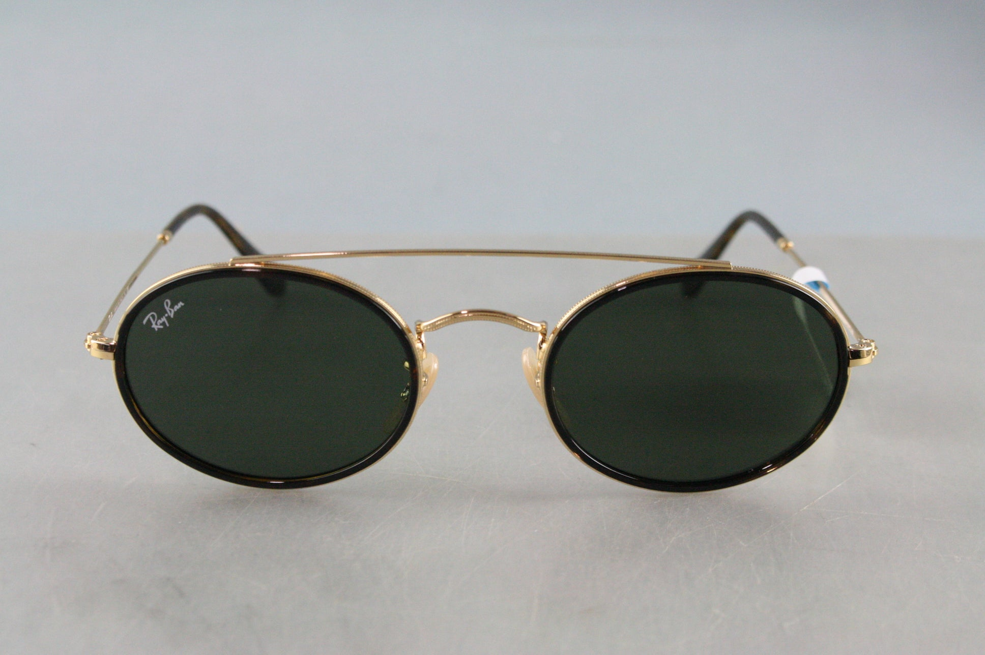 NEW Ray-Ban OVAL DOUBLE BRIDGE RB 3847N Gold/Green (9121/31) Sunglasses