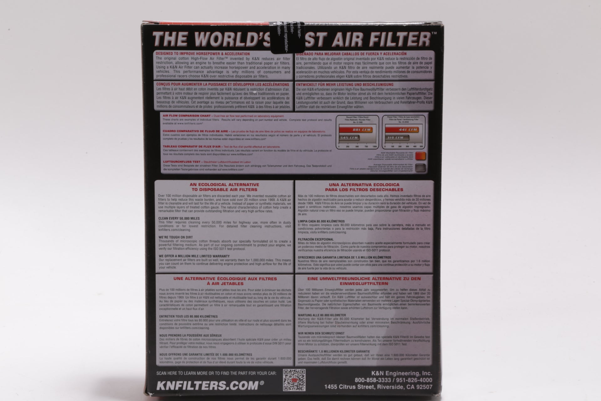 Brand New Sealed, High-Flow Replacement Air Filter / Reusable - 33-5045