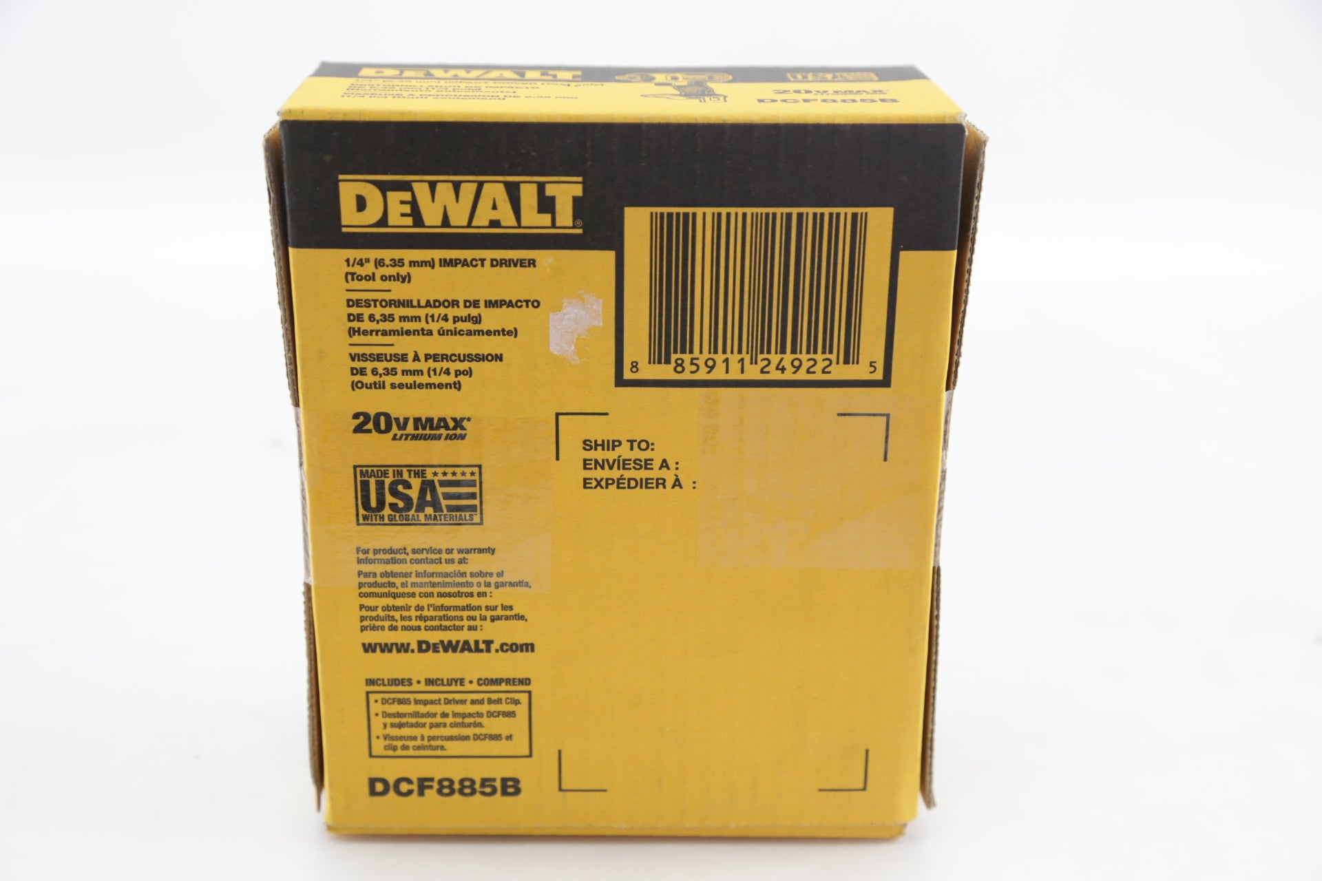 "NEW DEWALT 1/4"" IMPACT DRIVER 20V MAX DCF885B (TOOL ONLY)"