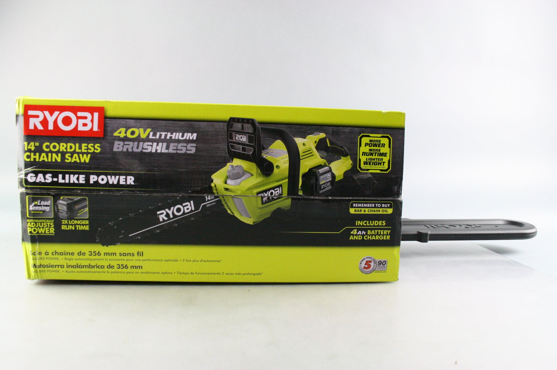 NEW RYOBI RY40530 14 in. 40-Volt Brushless Lithium-Ion Cordless Chainsaw, 4 Ah