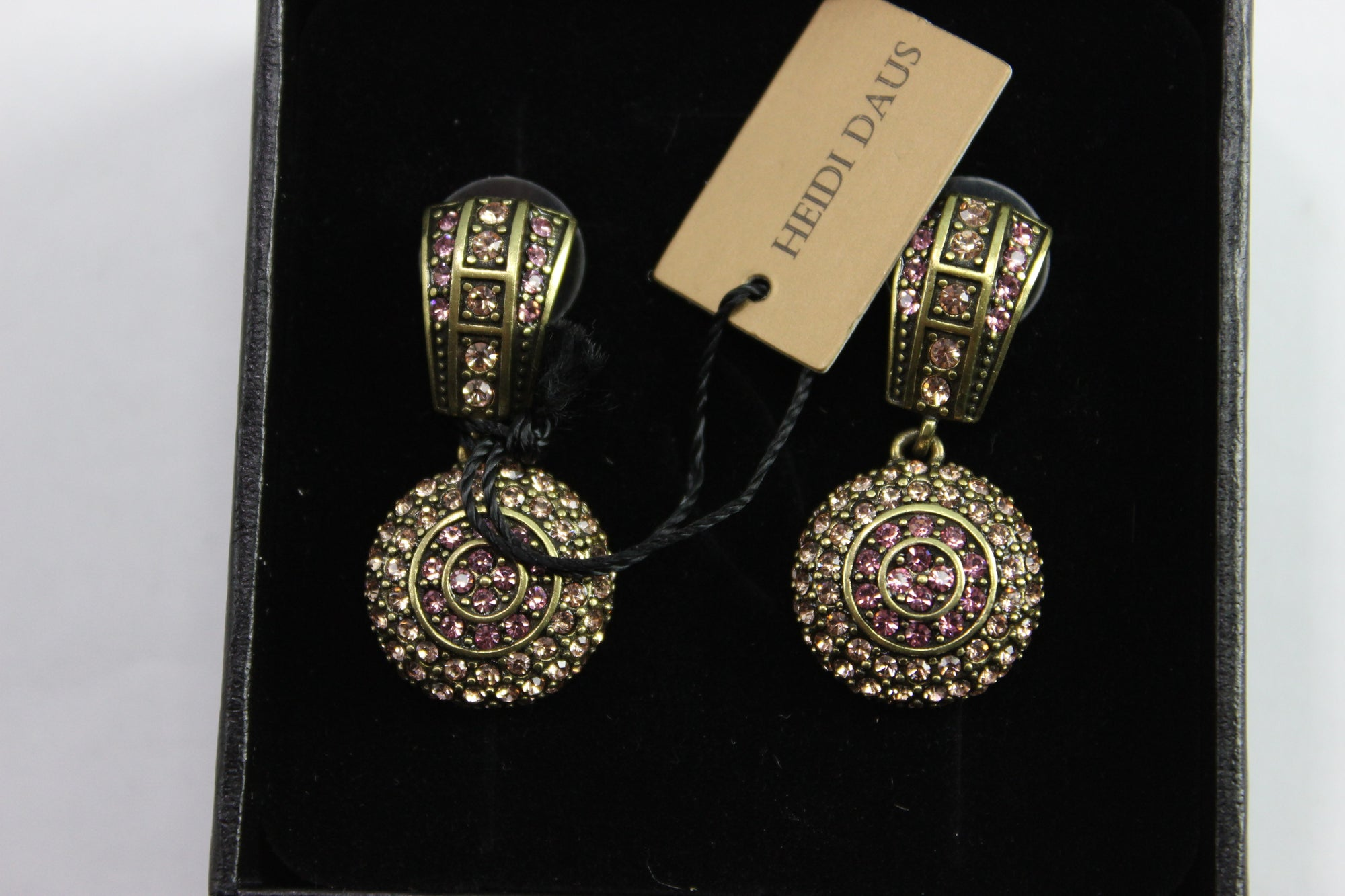 NEW Heidi Daus Pink Crystal Accented Fashion Clip On Earrings NIB