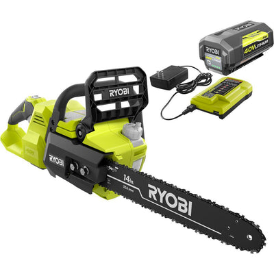 RYOBI RY40530 14 in. 40-Volt Brushless Lithium-Ion Cordless Chainsaw, 4 Ah