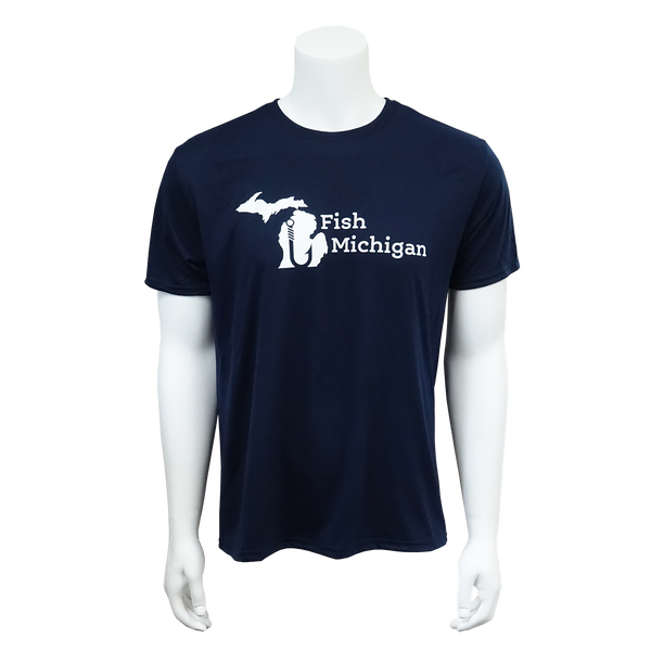 Fish Michigan Short Sleeve T-Shirt Navy Blue