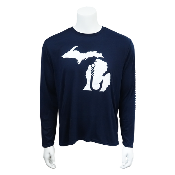 Fish Michigan Long Sleeve T-Shirt Navy Blue