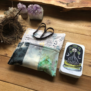 Striped ice dyed pouch with or without oracle deck