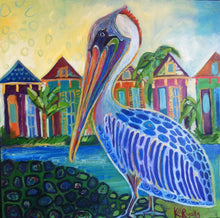 Load image into Gallery viewer, New orleans Pelican  Mid City Love  Kat Ryalls  print on archival fine art paper signed and numbered, New Orleans art, oil painting