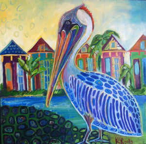 New orleans Pelican, New Orleans Art, Mid City Love  Kat Ryalls Fine Art print on archival fine art paper signed and numbered