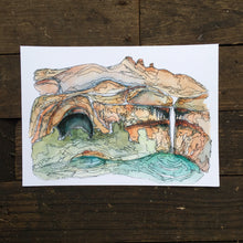 "Load image into Gallery viewer, Calf Creek  Utah watercolor National Park giclee 5x7"" kat ryalls 2016 Grand Staircase Escalante"
