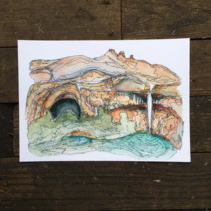 "Calf Creek  Utah watercolor National Park giclee 5x7"" kat ryalls 2016 Grand Staircase Escalante"